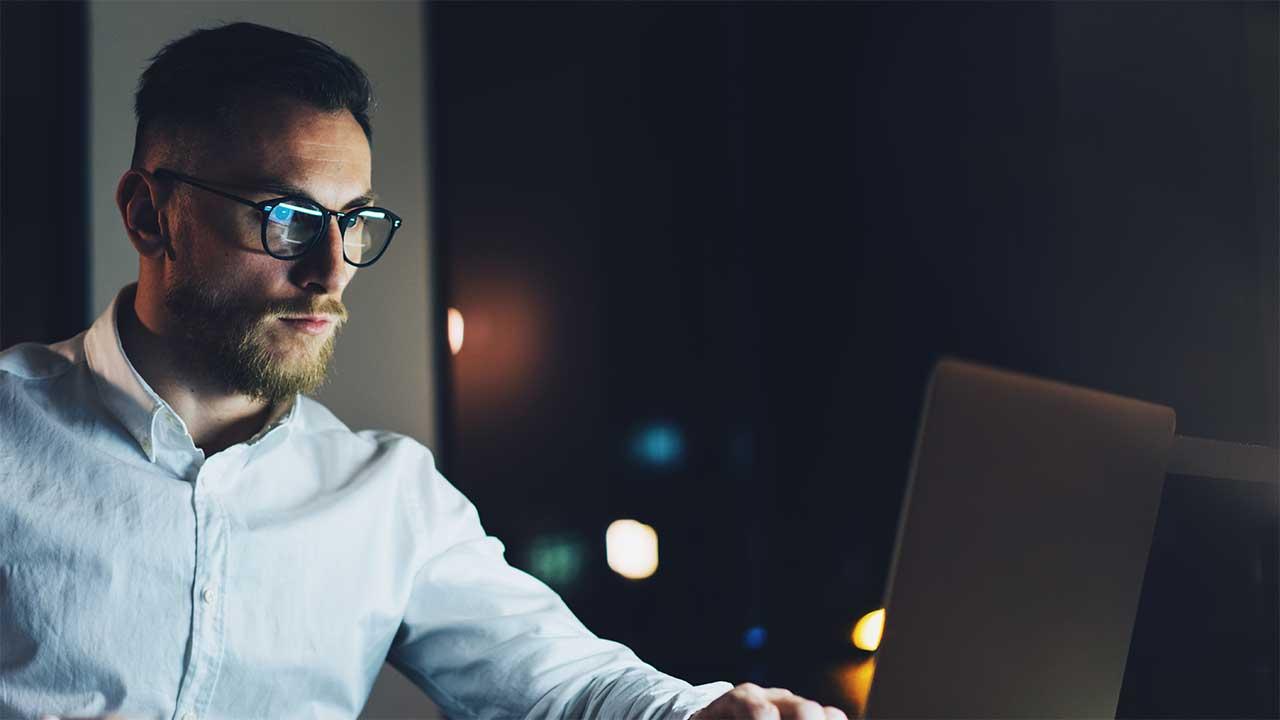 a man at laptop