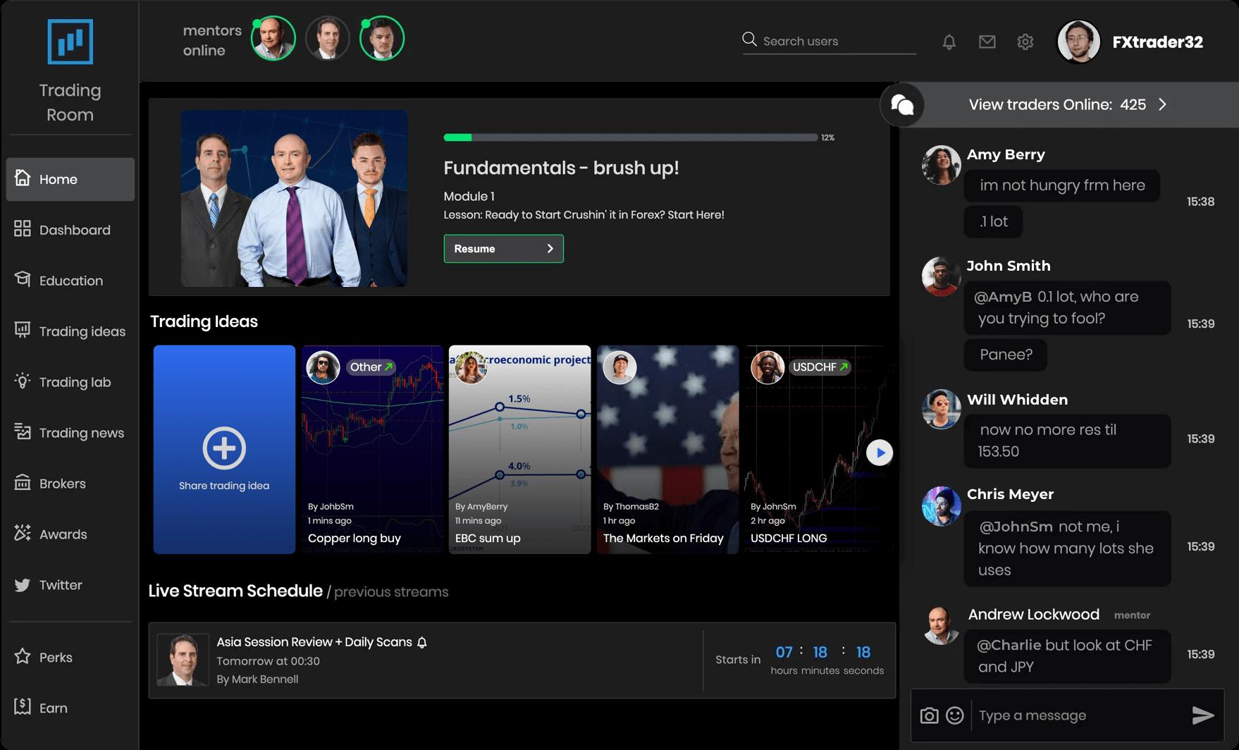 trade room screenshot